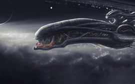 Preview wallpaper Spaceship, monster, fantasy art picture