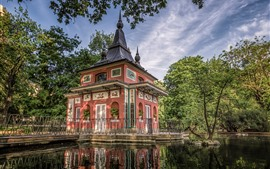 Preview wallpaper Spain, Madrid, Retiro Park, house, pond
