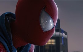Preview wallpaper Spider-Man, look, mask, city
