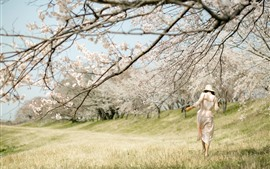 Printemps, fleurs fleurissent, fille, herbe