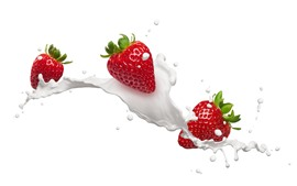 Preview wallpaper Strawberries, milk, white background