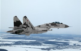 Preview wallpaper Su-35 multi-purpose fighter, flight, snow, winter