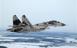 Aperçu fond d'écran Su-35 chasseur polyvalent, vol, neige, hiver