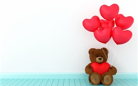 Preview wallpaper Teddy bear, red love hearts balloons, romantic