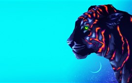Preview wallpaper Tiger, colors, art picture, creative design