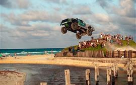 Toyota, carro, velocidade, salto, água