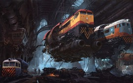 Preview wallpaper Trains, future, sci-fi, art picture