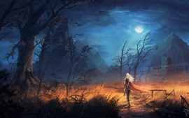 Preview wallpaper Trees, rain, mountain, warrior, sword, night, clouds, moon, art picture