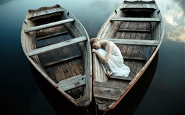 Preview wallpaper Two boats, white skirt girl sleeping, lake