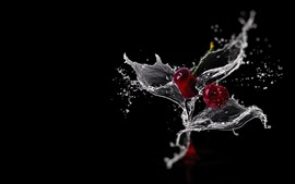 Preview wallpaper Two cherries, water splash, black background