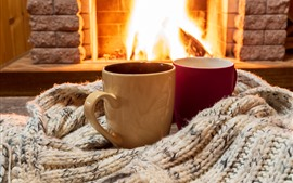 Preview wallpaper Two cups, sweater, fireplace