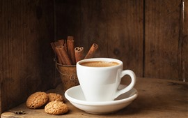 Preview wallpaper White cup, coffee, cookies, cinnamon