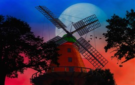 Windmill, moon, night, trees, birds, art style