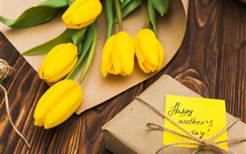 Preview wallpaper Yellow tulips, gift, Happy Mothers Day