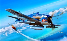 Preview wallpaper Aircraft, bombs, clouds, war, art picture