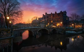 Preview wallpaper Amsterdam, Netherlands, houses, trees, river, bridge, lights, night