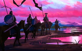 Art picture, knights, horses, sunset, mountains, river