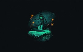 Preview wallpaper Astronaut, art picture, black background