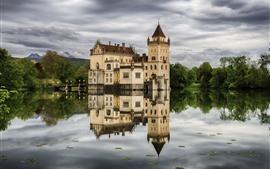 Австрия, Зальцбург, замок, озеро, деревья, вода отражение