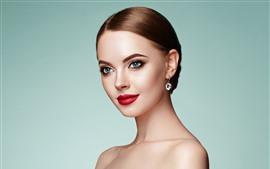 Preview wallpaper Blue eyes fashion girl, makeup, red lip, earrings