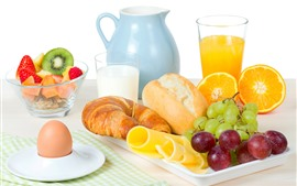 壁紙のプレビュー パン、ブドウ、オレンジジュース、卵、牛乳、朝食
