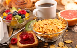 Preview wallpaper Breakfast, cereal, coffee, bread, fruit salad