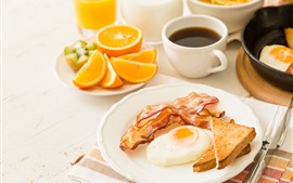 Breakfast, egg, bread, coffee, oranges