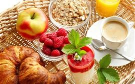 Aperçu fond d'écran Petit déjeuner, fraise, pomme, pain, muesli, jus, café