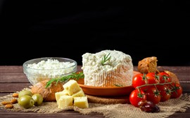 Preview wallpaper Cake, tomatoes, bread, cheese