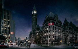 Preview wallpaper Canada, Toronto, city, buildings, flag, dusk