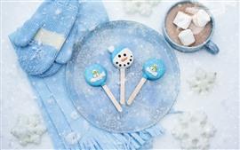 Doces, flocos de neve, cachecol, luvas, chocolate quente, marshmallows