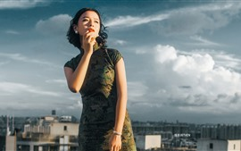 Cheongsam, короткие волосы девушка, крыша, облака