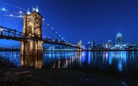 Cincinnati, cidade, ponte, rio, luzes, noite