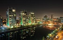 Город, здания, река, мост, ночь, огни