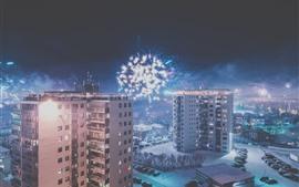 Cidade, noite, edifícios, neve, fogos de artifício, inverno