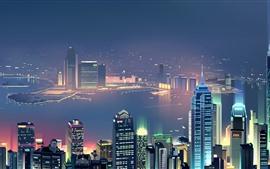 Noite da cidade, arranha-céus, rio, nevoeiro, luzes, imagens de arte