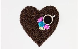 미리보기 배경 화면 커피 콩, 사랑 마음, 컵, 분홍색 및 파랑 꽃