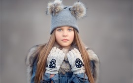Preview wallpaper Cute little girl, hat, long hair, gloves