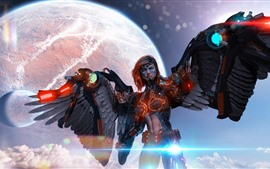 Preview wallpaper Cyborg, angel, wings, planet, creative picture