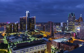 Detroit, city, night, buildings, lights, USA