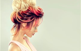 Fashion girl, hairstyle, colorful