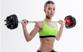 Preview wallpaper Fitness girl, athlete, pose, white background