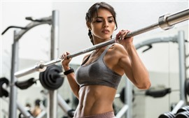 Preview wallpaper Fitness girl, gym, hands, look, sport