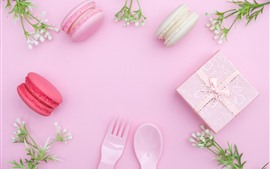 Preview wallpaper Gift, macaron, flowers, fork, spoon, pink background