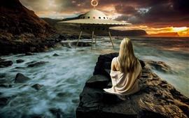 壁紙のプレビュー 少女、UFO、海、夕暮れ