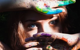 Preview wallpaper Girl, face, hands, colorful paint