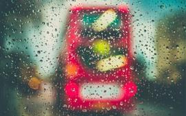 Стекло, капли воды, дождь, машина, ночь