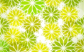 Preview wallpaper Green and yellow abstract flowers, creative picture