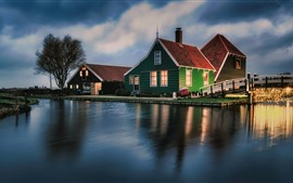 Preview wallpaper Holland, river, houses, bridge, trees, dusk, lights