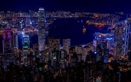 Preview wallpaper Hong Kong, city night, skyscrapers, lights, sea